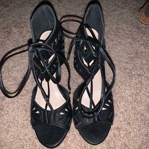 Black strappy sandal high heel